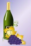 Бутылка вина и голубых виноградин Стоковые Изображения RF