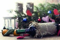 Бутылка вина сердца свечи Стоковая Фотография