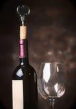 Бутылка и бокал вина на деревенской предпосылке, взгляде со стороны Стоковое Изображение