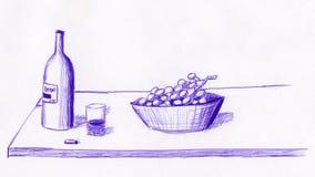 Бутылка и виноградины вина иллюстрация вектора