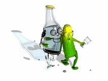 Бутылка и огурец Стоковое Изображение
