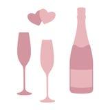 Бутылка и стекла Шампани Стоковое Изображение