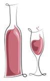 Бутылка и стекло вина Rosé Стоковые Фото