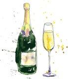 Бутылка и стекло Шампани иллюстрация вектора