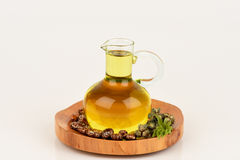 Бутылка касторового масла с плодоовощами, семенами и лист рицинуса стоковое изображение