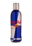 Бутылка красного питья энергии Bull Стоковое фото RF
