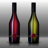 Бутылка красного цвета и белизны вина Стоковые Фото