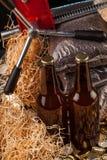 Бутылка домодельных крышек пива и бутылки Стоковые Фото