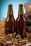 Бутылка домодельных крышек пива и бутылки Стоковая Фотография