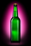 Бутылка пива или сидра изолированных на фиолетовой предпосылке Стоковое Фото