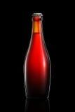 Бутылка пива или сидра изолированных на черной предпосылке Стоковые Изображения RF