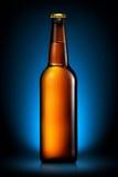 Бутылка пива или сидра на синей предпосылке Стоковая Фотография RF