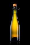 Бутылка пива, сидра или шампанского изолированных на черной предпосылке Стоковые Изображения RF