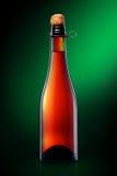 Бутылка пива, сидра или шампанского изолированных на черной предпосылке Стоковое Изображение RF