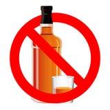 Бутылка питья и stemware спирта в никаком позволенном знаке Стоковые Изображения