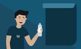Бутылка питья человека воды Стоковая Фотография RF