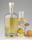 Бутылка рябиновки с стеклом Стоковые Изображения RF