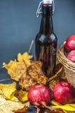Бутылка сидра и яблок в корзине Стоковое фото RF