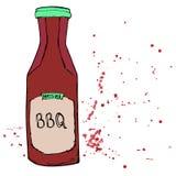 Бутылка соуса BBQ с брызгает и пятнает Барбекю нарисованное рукой d Стоковое Изображение RF