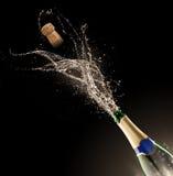 Бутылка Шампани с выплеском стоковые фотографии rf