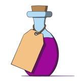 Бутылка шаржа с биркой. Иллюстрация вектора Стоковые Изображения