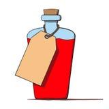 Бутылка шаржа с биркой. Иллюстрация вектора Стоковые Фото