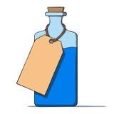 Бутылка шаржа с биркой. Иллюстрация вектора Стоковые Изображения RF