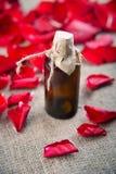 Бутылка эфирного масла и красные розы, вода дух Стоковое Изображение RF