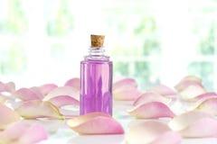 Бутылка эфирного масла и розы пинка изолированных на белизне Стоковая Фотография