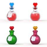 Бутылка 3D зелья влюбленности установила 2 Стоковое Изображение