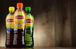 3 бутылки безалкогольного напитка чая льда Lipton Стоковые Изображения RF