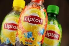 3 бутылки безалкогольного напитка чая льда Lipton Стоковая Фотография