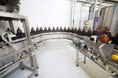 Бутылки Брайна пластичные с свежим пивом идут на конвейерную ленту Стоковое Фото