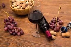 Бутылки вина, стекел вина, виноградин и пробочки wine Стоковое фото RF