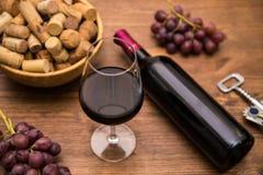 Бутылки вина, стекел вина, виноградин и пробочки wine Стоковые Фото