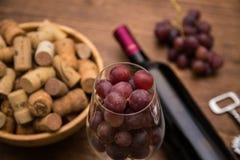 Бутылки вина, стекел вина, виноградин и пробочки wine Стоковые Изображения