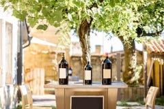 Бутылки вина с пустым ярлыком на таблице Стоковые Изображения RF