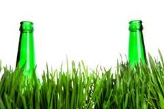 2 бутылки в траве Стоковое Изображение RF