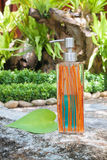 Бутылки жидкостного мыла на деревянном Стоковые Изображения