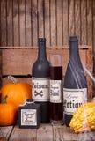 Бутылки зелья с тыквами стоковое фото rf