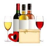 Бутылки изолированных вина, рюмок, красного сердца и карточки Стоковое Изображение RF