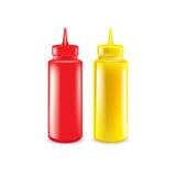 Бутылки изолированных кетчуп и мустарда Бесплатная Иллюстрация