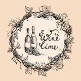 Бутылки и венок вина от листьев виноградины иллюстрация штока