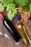 Бутылки и виноградины вина на таблице сада Стоковое Изображение