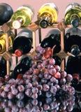 Бутылки и виноградины вина Стоковые Изображения RF