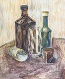 Бутылки и стекла нарисованные в карандаше Стоковое Изображение RF
