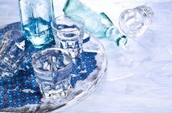 Бутылки и стекла Стоковые Фото