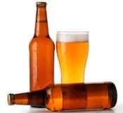 Бутылки и стекло пива Стоковые Фото