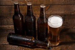Бутылки и стекло пива Стоковая Фотография
