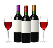 Бутылки красного вина изолированные на белизне Стоковое фото RF
